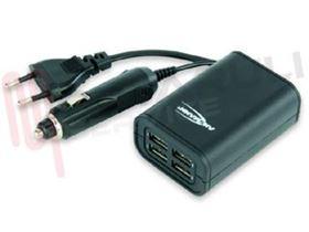 Immagine di ALIMENTATORE CARICATORE 4 CHARGER USB 5V/2A SPINA