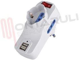 Picture of PRESA MULTIPLA 1PR. SCHUKO+2PRESE BIVALENTI C/INT 16A + USB