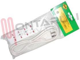 Picture of PRESA MULTIPLA 4PR. BIVALENTE C/CAVO 2P+T 16A BIANCA