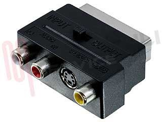 Immagine di ADATTATORE SCART 21 POLI+SWITCH IN-OUT /S-VHS /3 RCA FEMM.