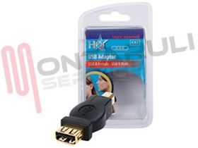 Picture of ADATTATORE USB FEMMINA USB MASCHIO CON CONNETTORI DORATI